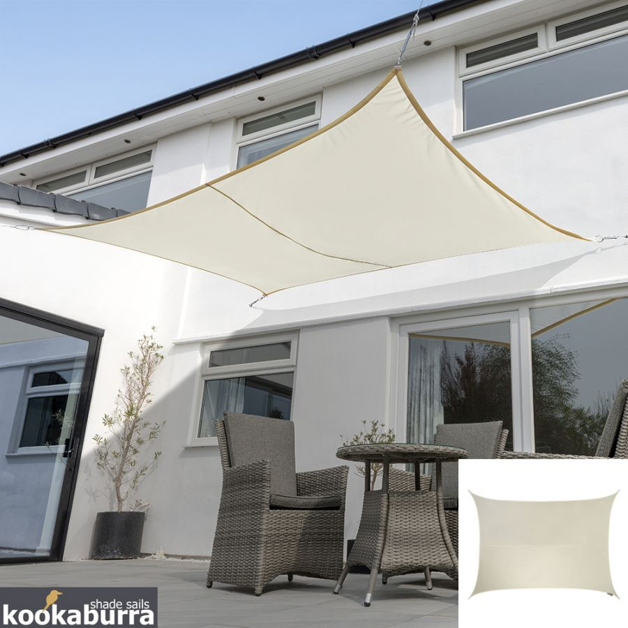 Kookaburra® 4mx3m Rectangle Ivory Waterproof Woven Shade Sail