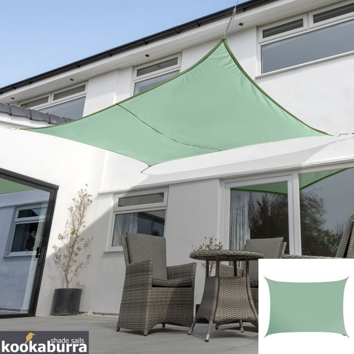 Kookaburra® 5mx4m Rectangle Mint Waterproof Woven Shade Sail