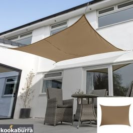 Kookaburra® 6mx5m Rectangle Mocha Brown Waterproof Woven Shade Sail