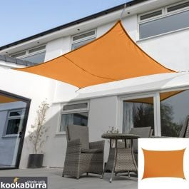 Kookaburra® 5mx4m Rectangle Orange Waterproof Woven Shade Sail