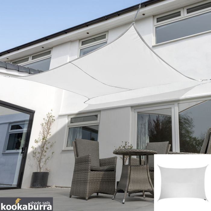 Kookaburra® 5mx4m Rectangle Polar White Party Sail Shade (Woven - Water Resistant)