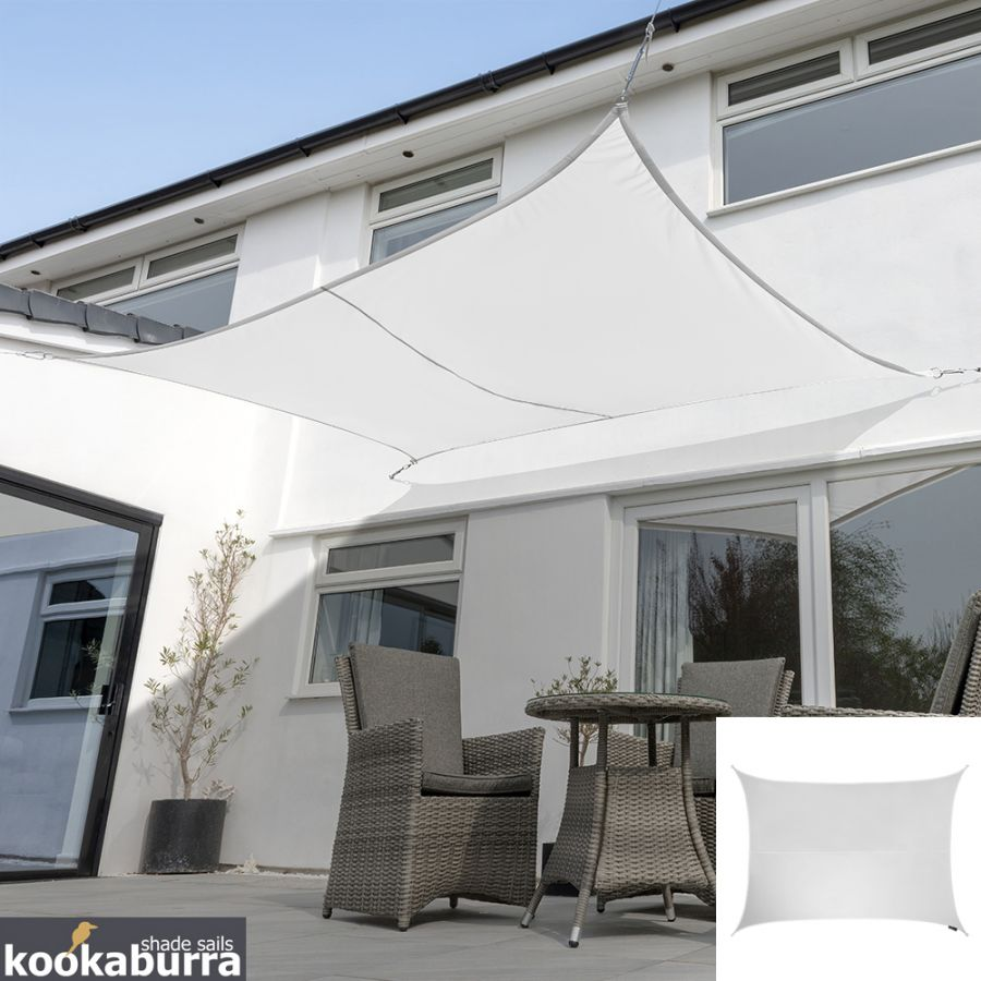 Kookaburra® 6mx5m Rectangle Polar White Waterproof Woven Shade Sail