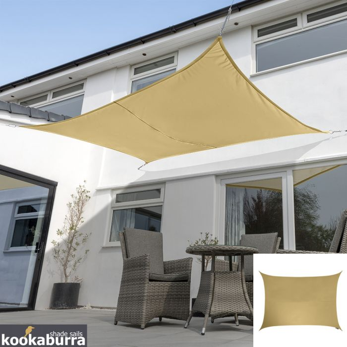Kookaburra® 3mx2m Rectangle Sand Waterproof Woven Shade Sail