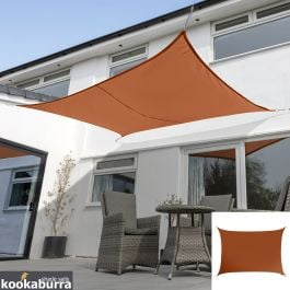 Kookaburra® 4mx3m Rectangle Terracotta Waterproof Woven Shade Sail