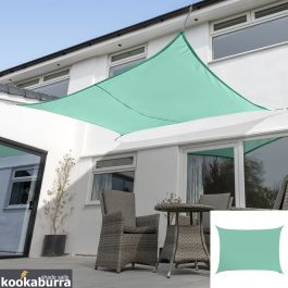 Kookaburra® 3mx2m Rectangle Turquoise Waterproof Woven Shade Sail