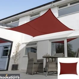 Kookaburra® 5mx4m Rectangle Wine/Burgundy Waterproof Woven Shade Sail