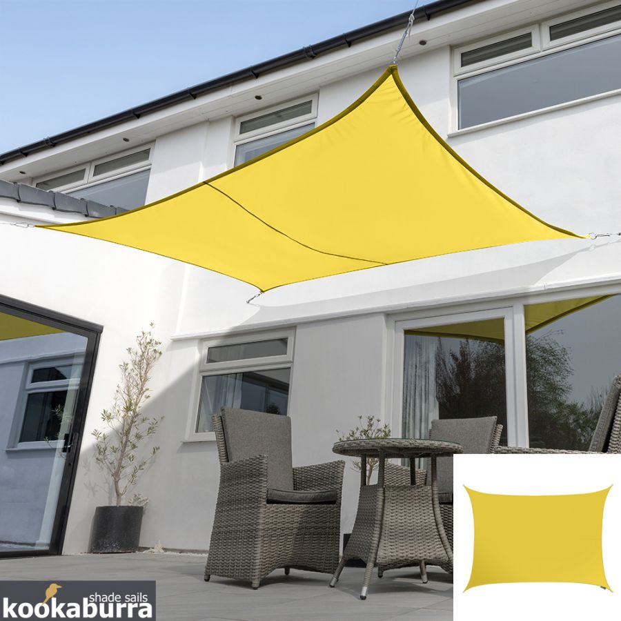 Kookaburra® 4mx3m Rectangle Yellow Party Sail Shade (Woven - Water Resistant)