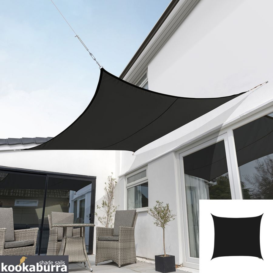 Kookaburra® 3m Square Black Waterproof Woven Shade Sail