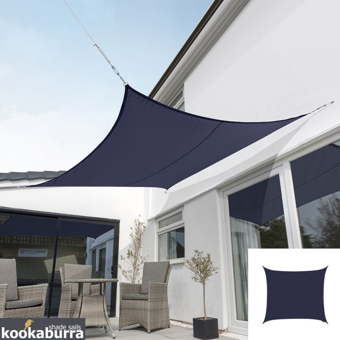 Kookaburra® 5.4m Square Blue Party Sail Shade (Woven - Water Resistant)
