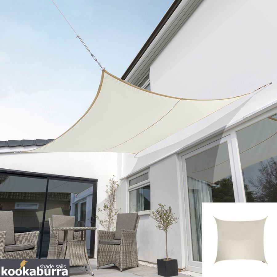 Kookaburra® 5.4m Square Ivory Waterproof Woven Shade Sail