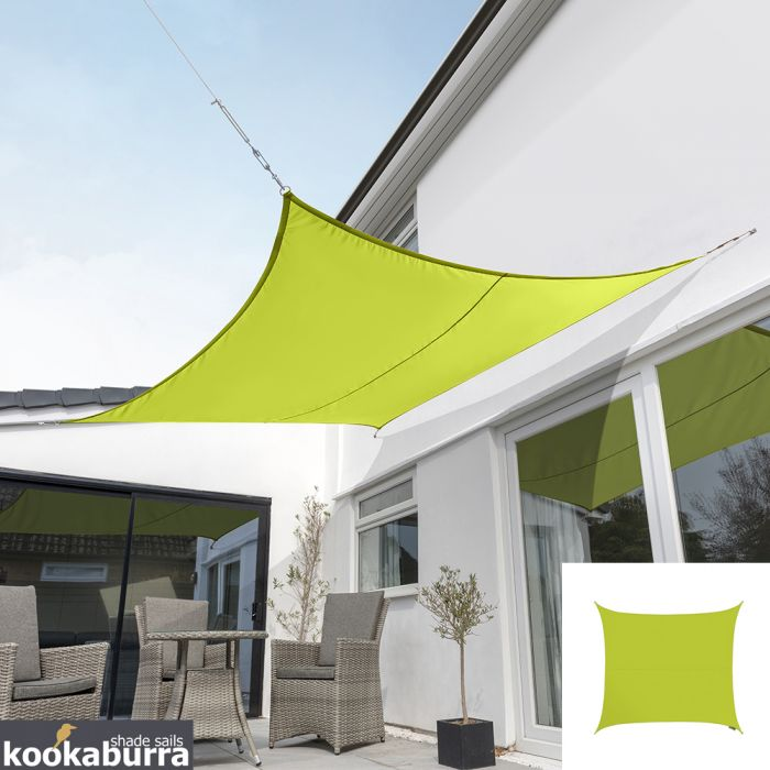 Kookaburra® 2m Square Lime Green Party Sail Shade (Woven - Water Resistant)