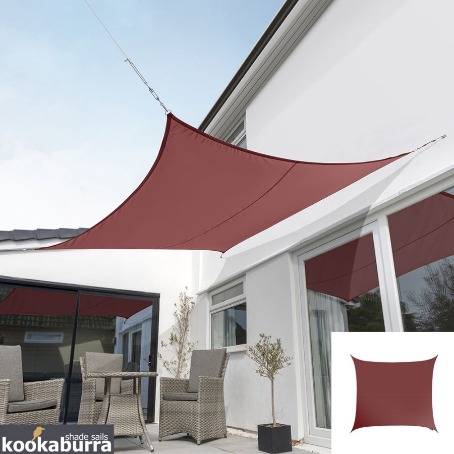 Kookaburra® 3m Square Marsala Red Waterproof Woven Shade Sail