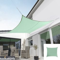 Kookaburra® 3m Square Mint Waterproof Woven Shade Sail