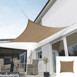 Kookaburra® 3.6m Square Mocha Brown Party Sail Shade (Woven - Water Resistant)