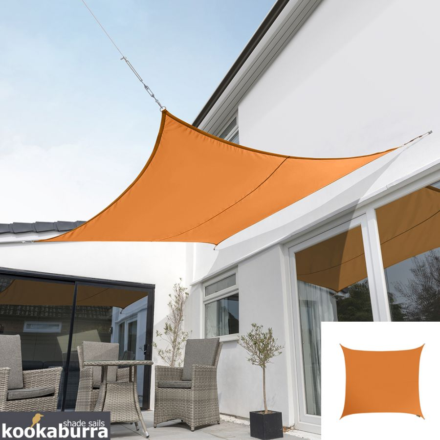 Kookaburra® 5.4m Square Orange Waterproof Woven Shade Sail
