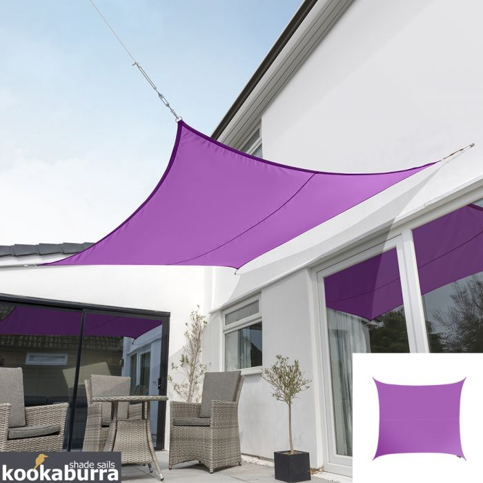 Kookaburra® 5.4m Square Purple Waterproof Woven Shade Sail