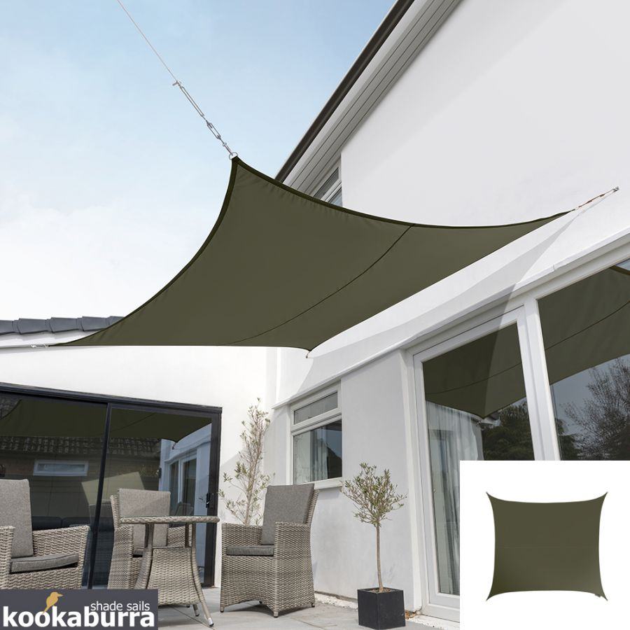 Kookaburra® 3m Square Sage Waterproof Woven Shade Sail