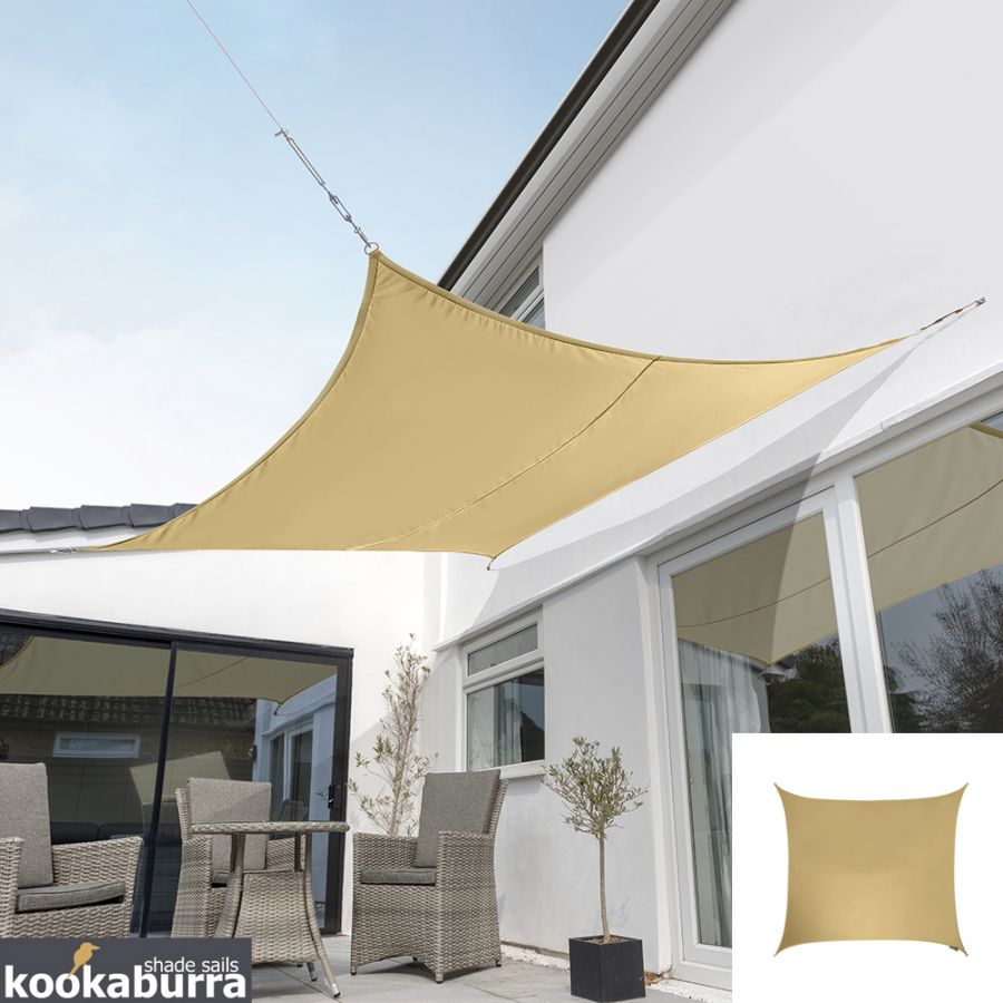 Kookaburra® 3m Square Sand Party Sail Shade (Woven - Water Resistant)
