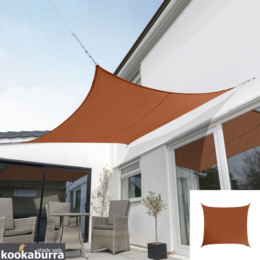 Kookaburra® 3.6m Square Terracotta Party Sail Shade (Woven - Water Resistant)
