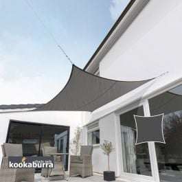 Kookaburra® 3m Square Charcoal Waterproof Woven Shade Sail
