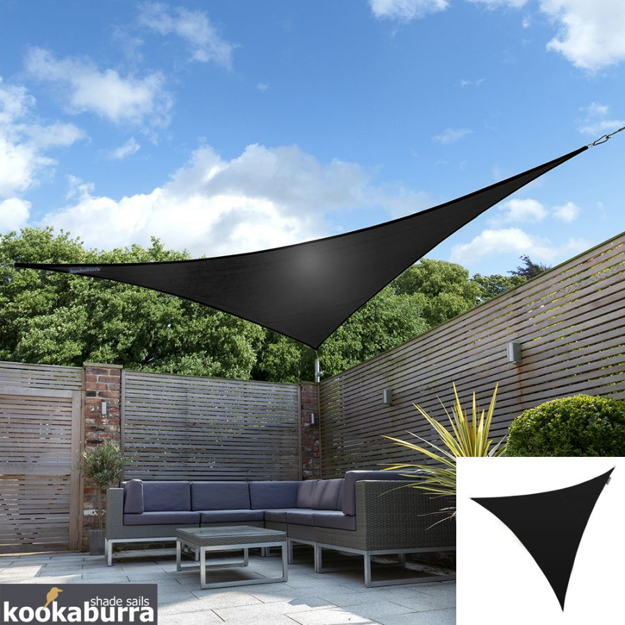 Kookaburra® 3.6m Triangle Black Waterproof Woven Shade Sail
