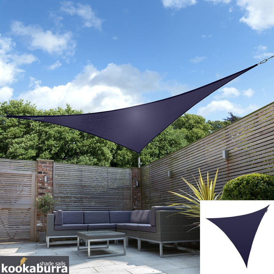 Kookaburra® 5m Triangle Blue Party Sail Shade (Woven - Water Resistant)
