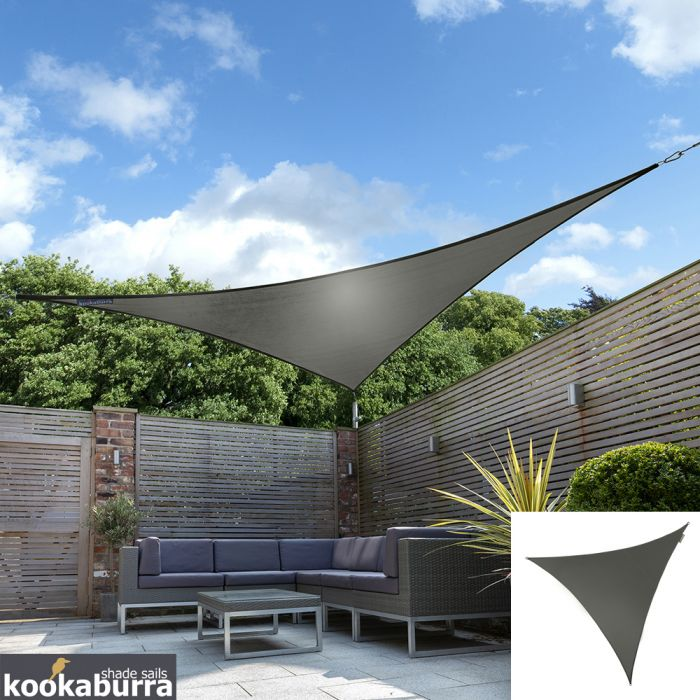 Kookaburra® 2m Triangle Charcoal Party Sail Shade (Woven - Water Resistant)