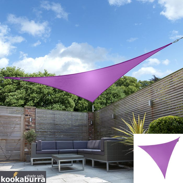 Kookaburra® 5m Triangle Purple Waterproof Woven Shade Sail
