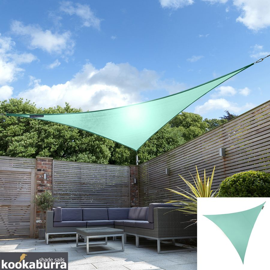 Kookaburra® 5m Triangle Turquoise Waterproof Woven Shade Sail