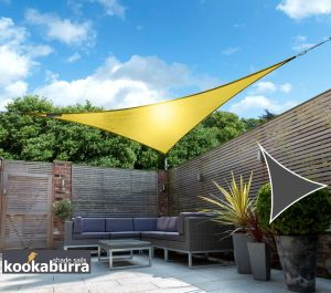 Kookaburra® 5m Triangle Yellow Waterproof Woven Shade Sail