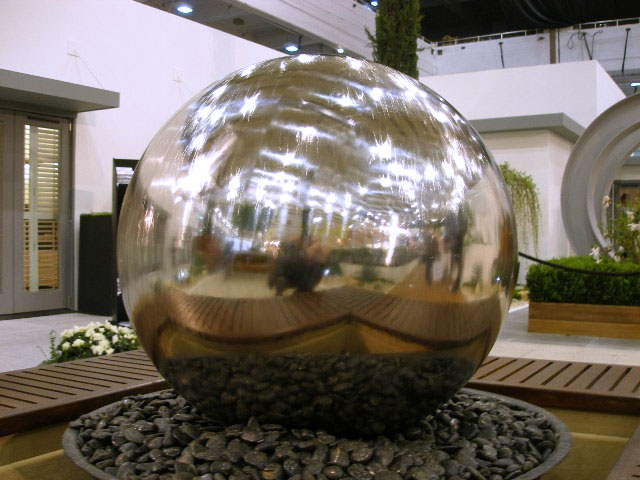 Polished 150cm/59ins Stainless Steel Sphere Water Feature, LED Lights