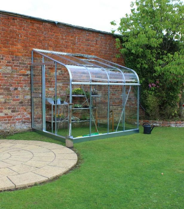 Halls Silverline Lean-To 10ft x 6ft Aluminium Frame Greenhouse with Toughened Glass - Silver