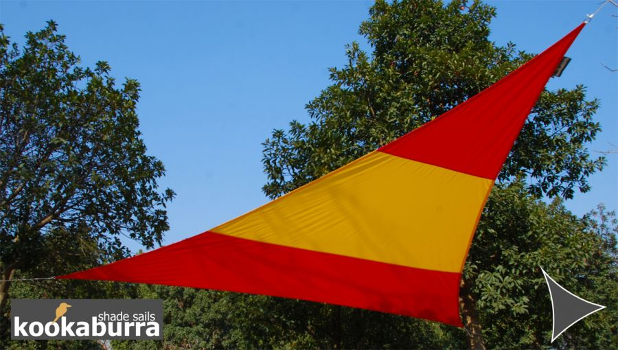Kookaburra® 5m Triangle Flag of Spain Waterproof Woven Shade Sail