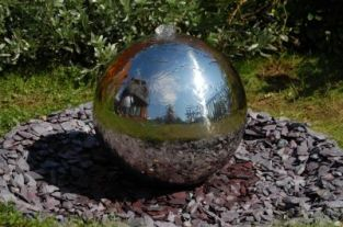 H100cm Sphere Polished Stainless Steel Water Feature with Lights by Ambienté
