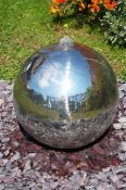 Polished 36cm Stainless Steel Sphere Water Feature, LED Lights