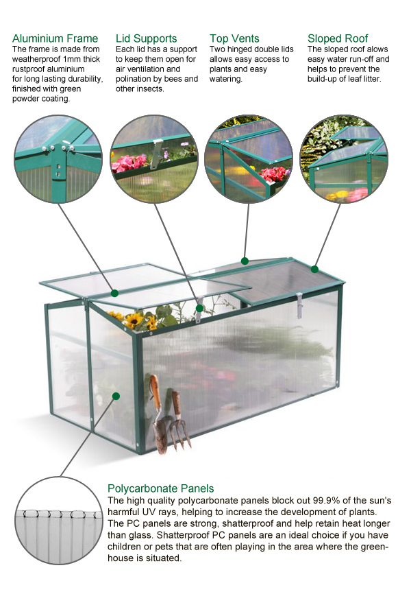 Lacewing 4ft x 2ft Cold Frame Double Door Mini Aluminium Frame ...