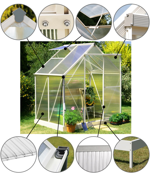 Lacewing™ 6ft x 4ft Deluxe Heritage Ivory Aluminium Frame Greenhouse