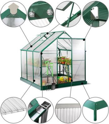 Lacewing™ 6ft x 6ft Deluxe Green Aluminium Frame Greenhouse