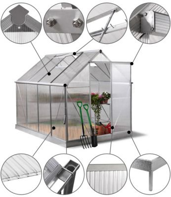 Lacewing™ 6ft x 8ft Deluxe Silver Aluminium Frame Greenhouse