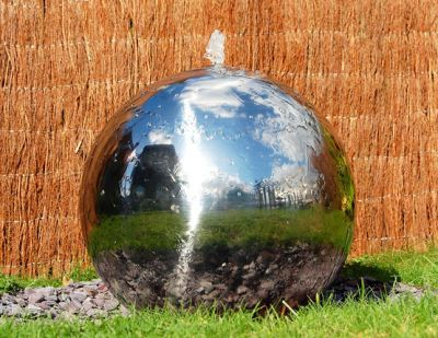 Polished 28cm Stainless Steel Sphere Water Feature, LED Lights