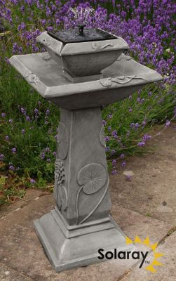 Spring Lily Solar Bird Bath Water Feature with Lights (H79cm) by Solaray�