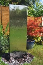 H130cm Vertical Stainless Steel Water Wall with Plastic Reservoir by Ambienté