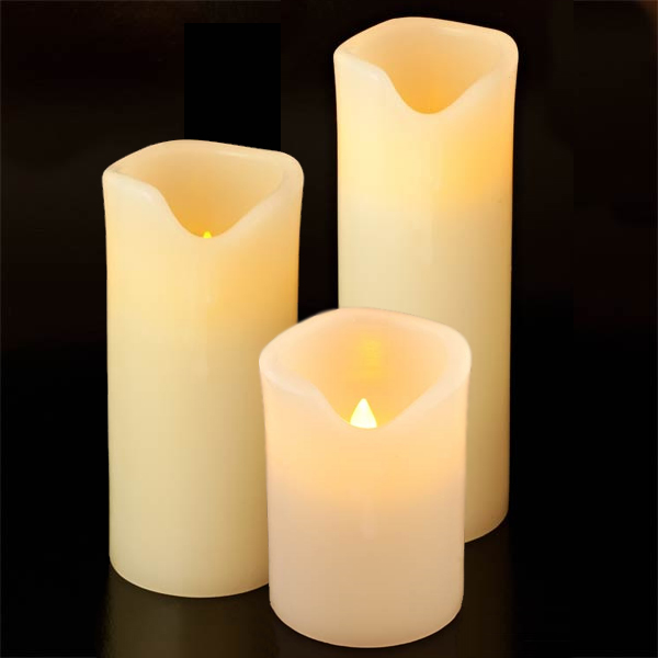 Vanilla Scented Electronic Real Wax Pillar Candles