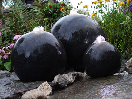 Terrazzo Triple Sphere Water Feature with Lights