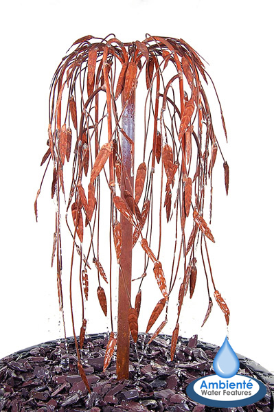 Weeping Willow Copper Tree Cascade Water Feature - 82cm - by Ambienté™