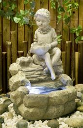 H42cm Girl Pouring Water Feature with LED Lights | Indoor/Outdoor Use by Ambienté