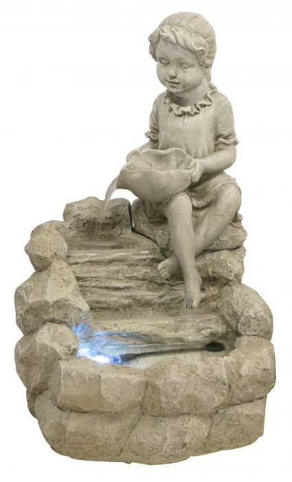 H42cm Girl Water Feature with LED Light by Ambienté™
