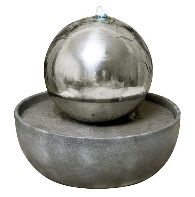 30cm Eclipse Stainless Steel Sphere Water Feature with LED lights by Ambient�