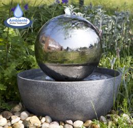 30cm Eclipse Stainless Steel Sphere Water Feature with LED lights by Ambienté™