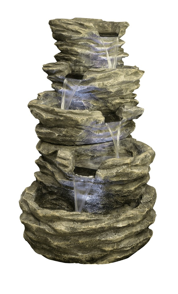 1m 4 Tier Rock Cascade Water Feature With Lights By